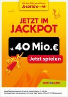 Aktueller Westlotto Prospekt, Jetzt im Jackpot rd. 40 Mio. €, Seite 1