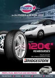 Catalogue Profil Plus en cours, Jusqu'à 120€ remboursés pour l'achat de 4 pneus Bridgestone, Page 1