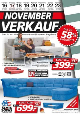 Aktueller Seats and Sofas Prospekt, November-Verkauf, Seite 1
