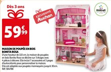 Maison de poupée en bois bonita rosa à Auchan dans Saint-Brice-sous-Forêt