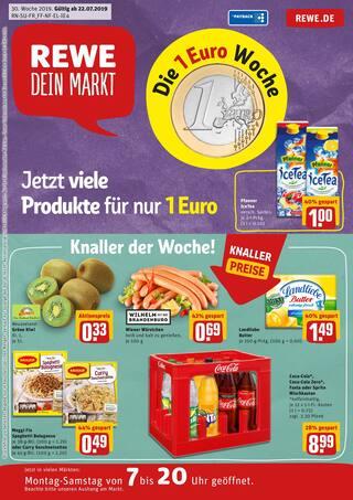 Aktueller REWE Prospekt, Jetzt viele Produkte für nur 1 Euro, Seite 1