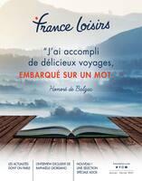 """Catalogue France Loisirs en cours, """"J'ai accompli de délicieux voyages, embarqué sur un mot..."""", Page 1"""