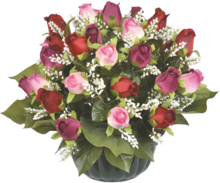 La composition multicolore de roses fermées à Centrakor dans Flaine