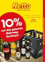 Aktueller Netto Marken-Discount Prospekt, 10% auf das gesamte Mehrweg-Sortiment, Seite 1