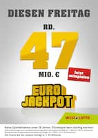 Aktueller WESTLOTTO Prospekt, Diesen Freitag rund 47 Mio. €, Seite 1