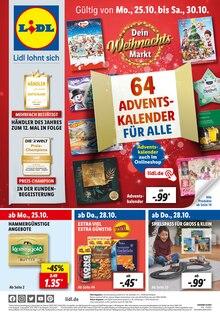 Lidl Prospekt für Fritzlar: 64 ADVENTSKALENDER FÜR ALLE, 62 Seiten, 24.10.2021 - 30.10.2021