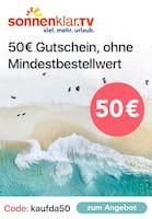 Aktueller sonnenklar.TV Prospekt, 50€ Gutschein, Seite 1