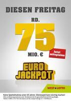 Aktueller Westlotto Prospekt, Diesen Freitag rd. 75 Mio. €, Seite 1
