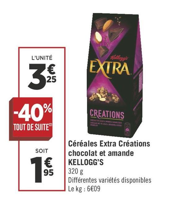 Céréales Extra Créations chocolat et amande