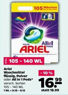 Waschpulver von Ariel im aktuellen NETTO mit dem Scottie Prospekt für 16.99€