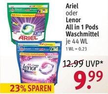 Waschmittel von Ariel oder Lenor im aktuellen Rossmann Prospekt für 9.99€