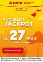 Aktueller LOTTO Bayern Prospekt, Aktueller Jackpot rund 27 Mio. €, Seite 1