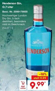 Gin von Henderson im aktuellen Netto Marken-Discount Prospekt für 9.99€