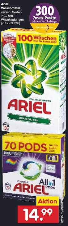 Waschmittel von Ariel im aktuellen Netto Marken-Discount Prospekt für 14.99€