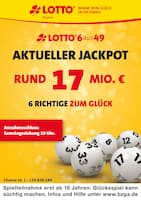 Aktueller LOTTO Bayern Prospekt, Aktueller Jackpot rund 17 Mio. €, Seite 1