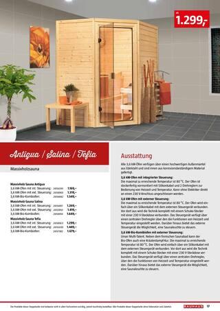 Aktueller BAUHAUS Prospekt, Saunen & Wärmekabinen, Seite 17