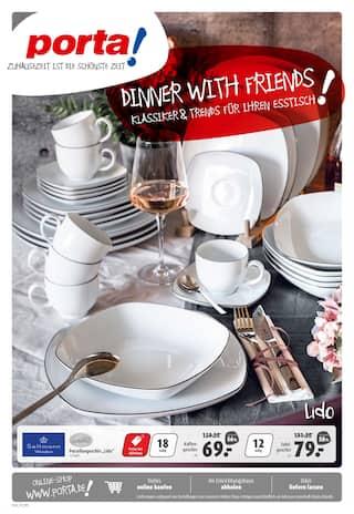 Aktueller porta Möbel Prospekt, porta! Dinner with Friends. Klassiker & Trends für Ihren Esstisch!, Seite 1