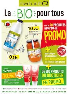 """NaturéO Catalogue """"La bio pour tous"""", 38 pages, Saint-Brice-sous-Forêt,  28/09/2021 - 24/10/2021"""