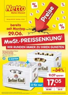 Der aktuelle Netto Marken-Discount Prospekt MwSt.-PREISSENKUNG - WIR RUNDEN IMMER ZU IHREN GUNSTEN