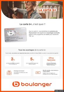 """Boulanger Catalogue """"La carte b+, c'est quoi ?"""", 1 pages, Verrières-le-Buisson,  14/06/2021 - 26/12/2021"""