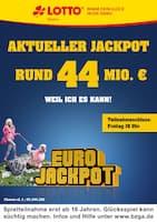 Aktueller LOTTO Bayern Prospekt, Aktueller Jackpot rund 44 Mio. €, Seite 1