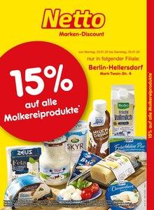 Der aktuelle Netto Marken-Discount Prospekt 15% auf alle Molkereiprodukte