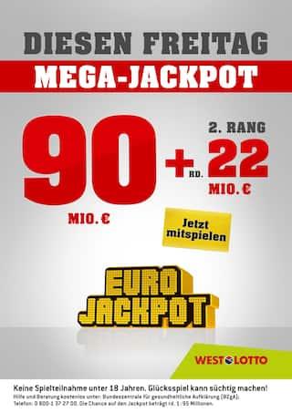 Aktueller Westlotto Prospekt, Diesen Freitag Mega-Jackpot, Seite 1