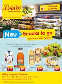 Der aktuelle Netto Marken-Discount Prospekt NEU - Snacks to go - Für den schnellen Hunger!
