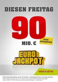 Aktueller Westlotto Prospekt, Diesen Freitag 90 Mio. €, Seite 1