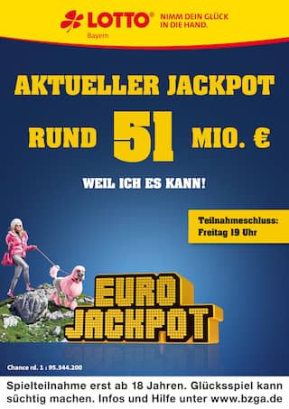 Aktueller LOTTO Bayern Prospekt, Aktueller Jackpot rund 51 Mio. €, Seite 1