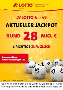LOTTO Bayern Prospekt für Scheßlitz: Aktueller Jackpot rund 10 Mio. €, 2 Seiten, 21.10.2021 - 23.10.2021