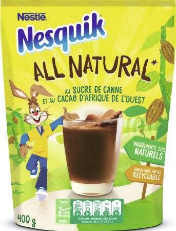 Nesquik All Natural au sucre de canne et au cacao d'Afrique de l'ouest