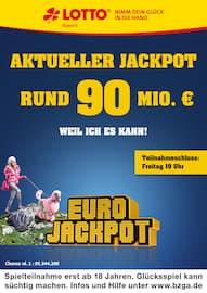 Aktueller LOTTO Bayern Prospekt, Aktueller Jackpot rund 90 Mio. €, Seite 1