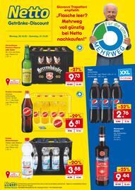 """Aktueller Netto Getränke-Markt Prospekt, """"Flasche leer? Mehrweg voll günstig bei Netto nachkaufen!"""", Seite 1"""